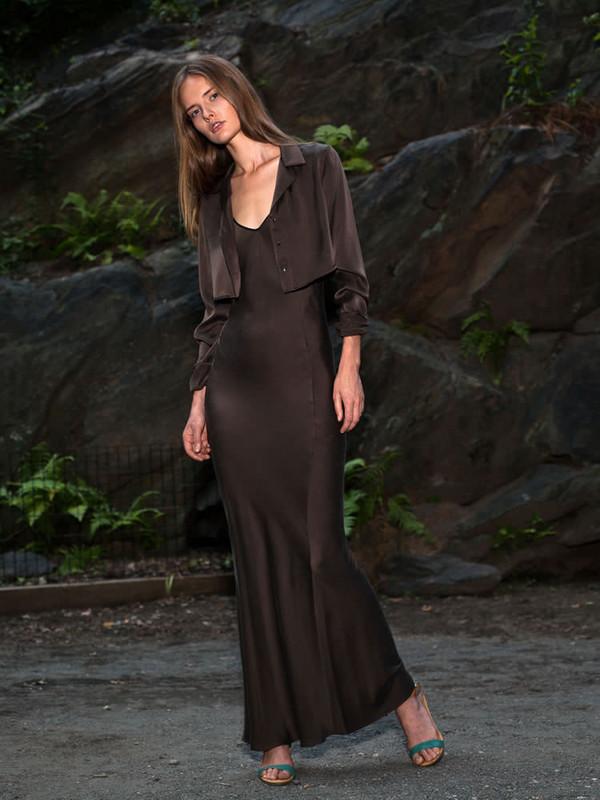 AwaveAwake Silk Bias Cut Slip Dress in Brown