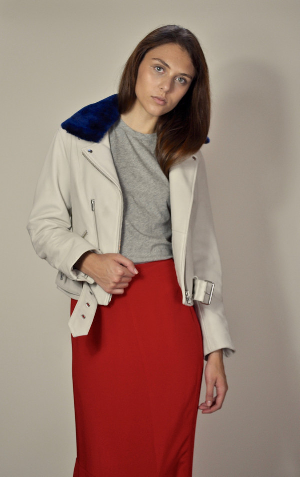 Veda National Cream Leather Jacket with detachable Navy Shearling Collar