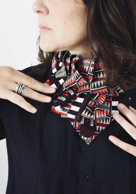 Lilian Asterfield Checkered Silk Ascot - Burgundy