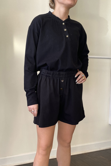 Donni. Henley Tee Long Sleeve top - Jet