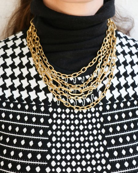 [Pre-loved] Napier Multi Strand Chainlink Necklace - Gold