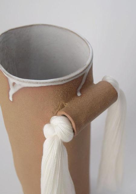 Karen Gayle Tinney Fringe Detail Natural Glazed Stoneware Vase