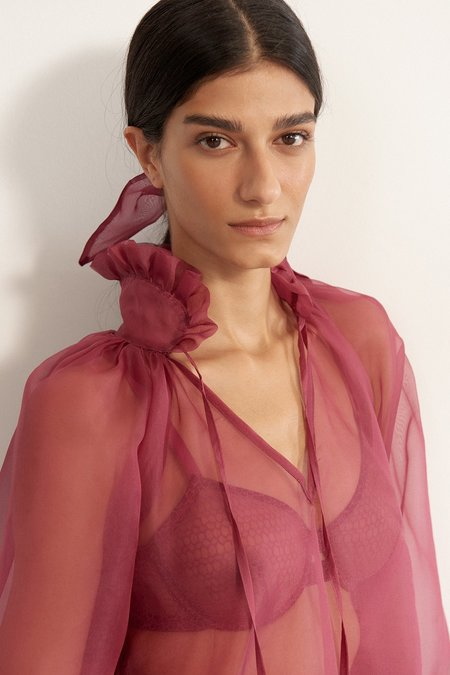 Else Honeycomb Organza Silk Cover Up - Orchid