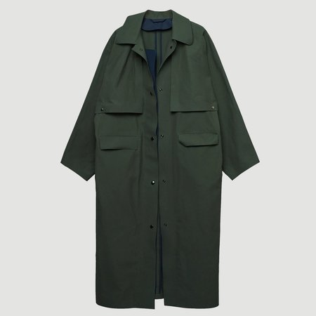 KASSL EDITIONS Wax Cape Reversible Long Coat - Dried Olive