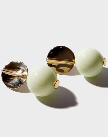 Modern Weaving Blown Glass Globe Earrings - Uranium