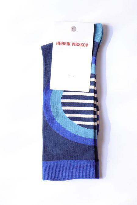 Henrik Vibskov Stripe Circle Socks - Blue Circles