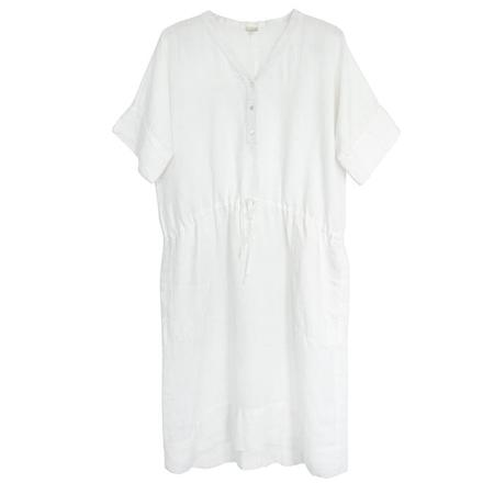 Mercy Linen Dress with Drawstring - White