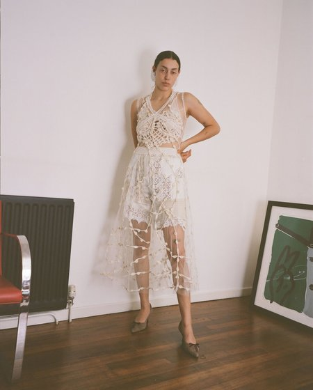 Sydney Pimbley Crochet Dot Dress - White
