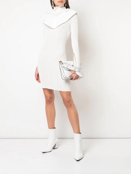 Ellery Knitted Bib Jumper Dress - Ivory