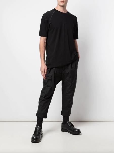 The Viridi-Anne Stitch Detail Round Neck T-Shirt - Black