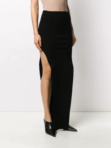 Rick Owens Tecuatl Knitted Side-Slit Maxi Skirt - black