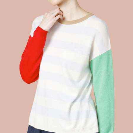 UNISEX MATTER MATTERS Crew Neck Intarsia Wool and Cashmere Blend Sweater - Red/Green