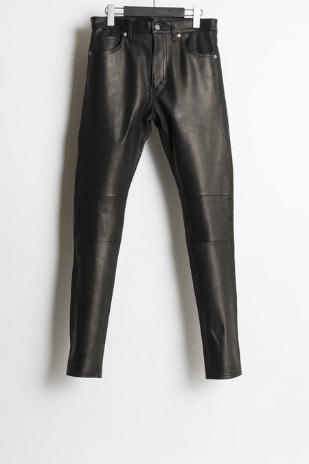 The Letters Calfskin 5 Pocket Leather Pants - Black