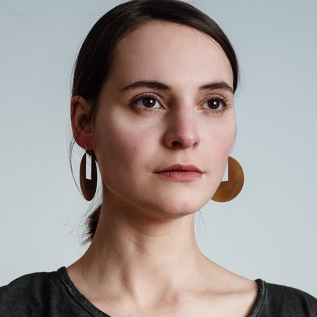Modern Madini Circle Disc Rectangle Cutout Earrings - brass