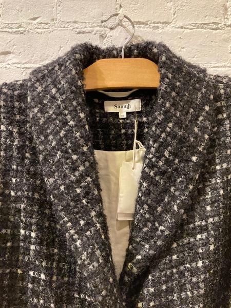 Samuji Textured Wool Coat - Plaid