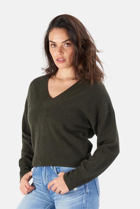 Naadam Deep V Neck Pullover Sweater - Green