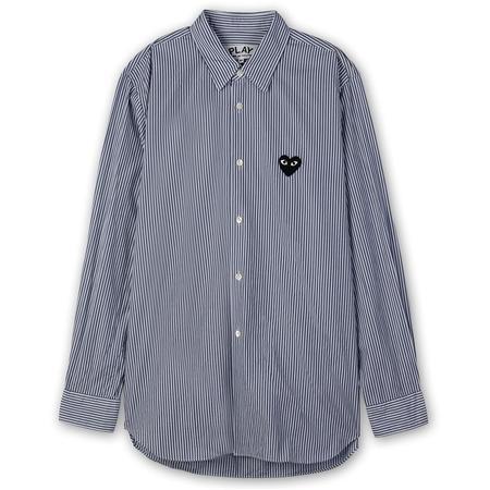 Comme des Garcons Striped Button Up Woven Shirt - Blue