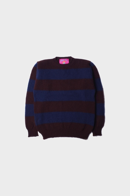 Howlin' Shaggy Bear Sweater - Purple Chunky Stripes