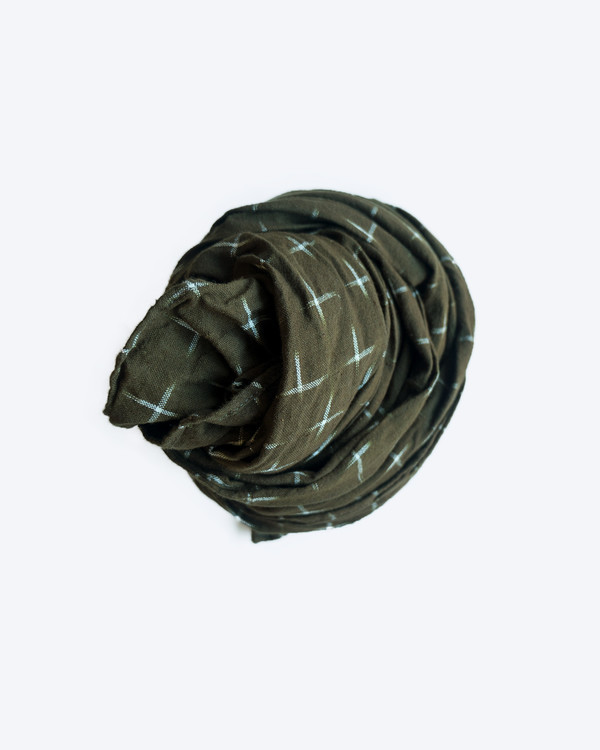 esby IKAT SMALL SCARF -  OLIVE/CREAM