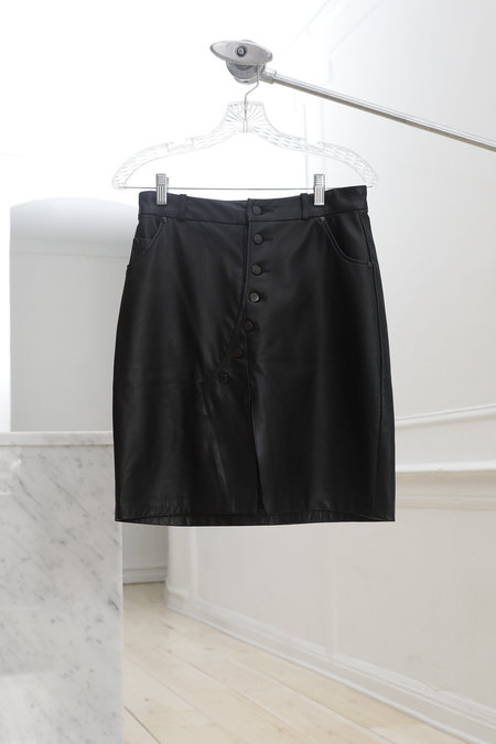 Collina Strada Mechanic Skirt Black Leather