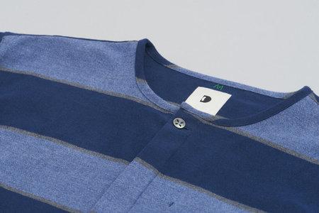 Delikatessen Collarless The Softest Flannel Harmony Shirt - Blue