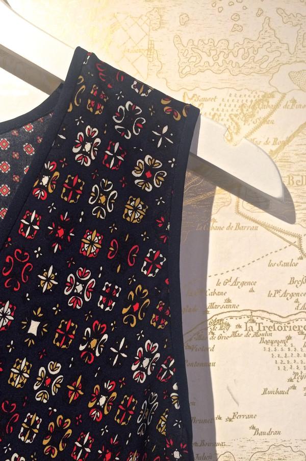 Derek Lam 10 Crosby V-Neck Silk Print Handkerchief Tank