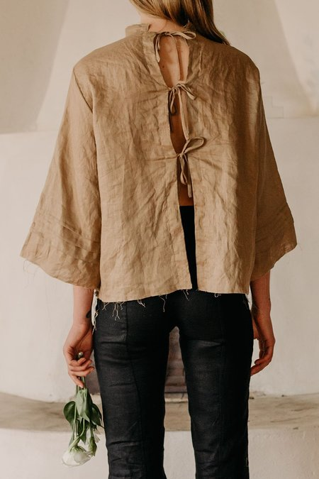 Muse the Label Elly Pleat Shirt - Sand