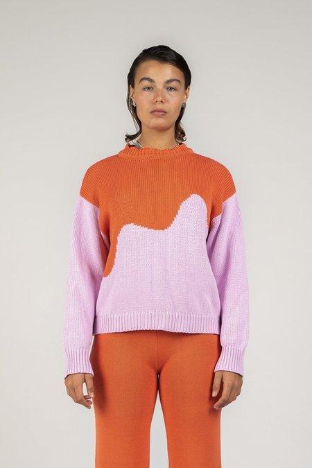 Arthur Oversized Pullover Spliced Sweater - Pink/Melon