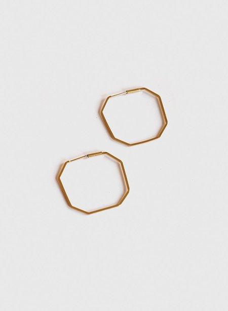 Meg Blue Sky Octagon Hoops Earing - Brass