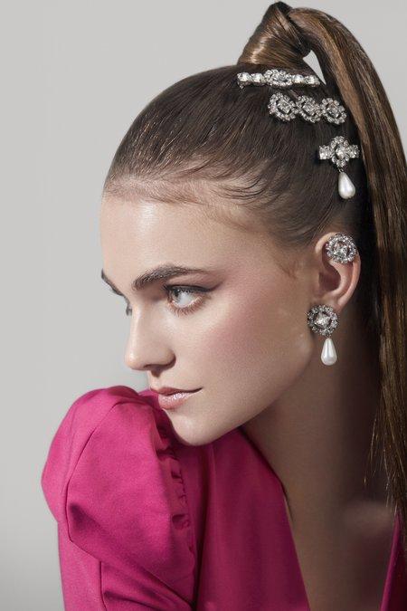 Joomi Lim Crystal Flower & Pearl Earrings