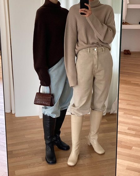 AMOMENTO Long Boots - Beige