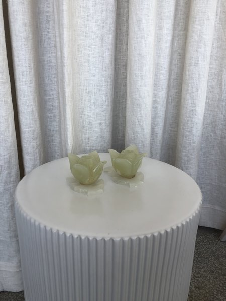 VINTAGE Ri-Ri-Ku ONYX FLOWER CANDLESTICK HOLDERS - GREEN