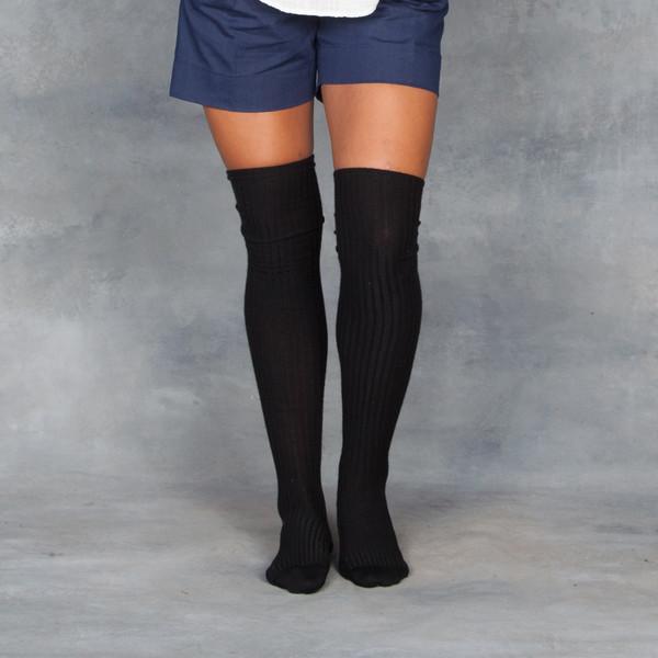 Baserange Over the Knee Sock Black Cashmere Silk Blend