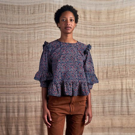 Story Mfg Amla Top in Organic Cotton Ajrakh - Dark Indigo