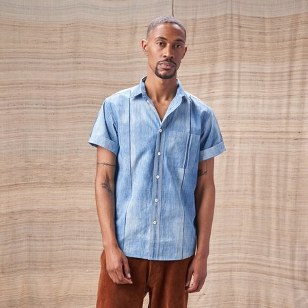 Indi Camp Collar Matty Shirt - Organic Indigo Shibori
