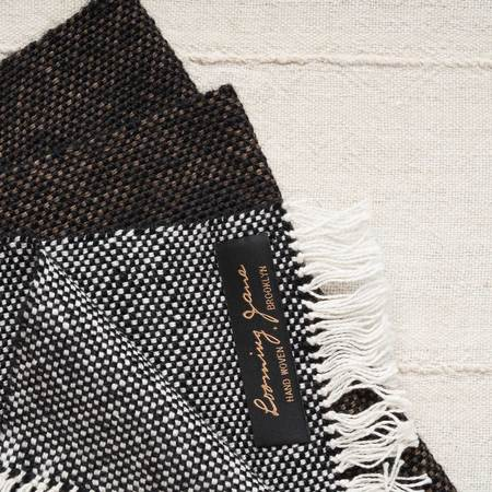 Looming Jane Skyline Scarf - Double Ikat Kakishibu