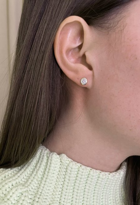 SS JEWELRY Solid 14K Gold Crystal Halo Stud