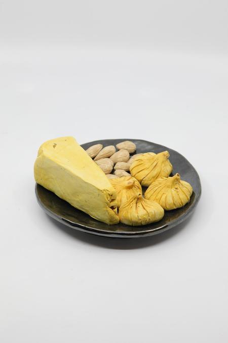 Reniel Del Rosario Plate with Cheese, Figs, Almonds Ceramic Art