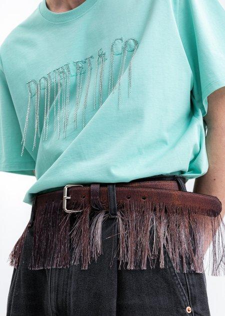 Doublet Fringe Embroidery belt - brown
