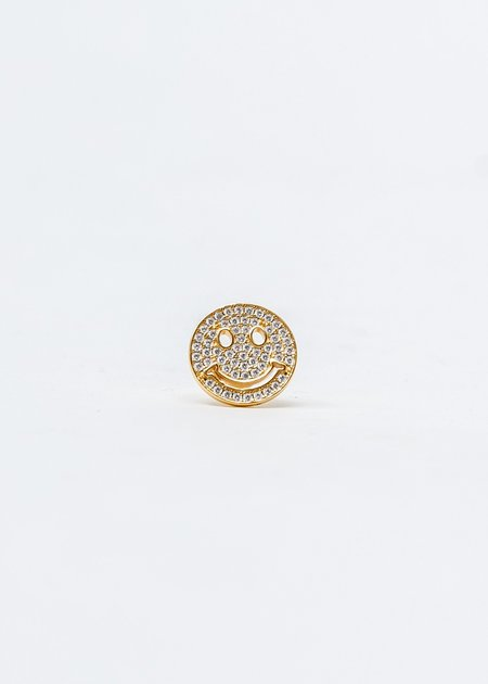 ASTAR HADES Rhinestone Smile Face Single Earring - Gold