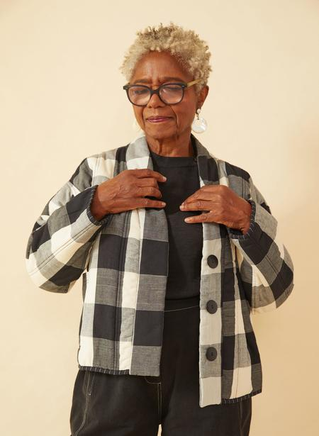 Seek Collective Rachel Quilted Coat - black/white gingham