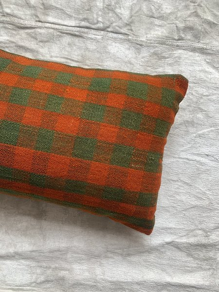 Cuttalossa & Co. Gingham Pillow - Olive/Red