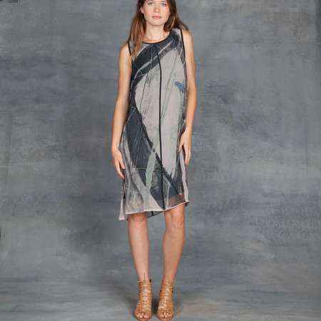 GOSILK Go Get Layered Dress in Brushstroke