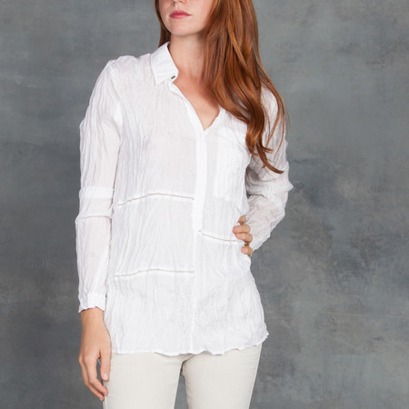 GOSILK Go Patchwork Redux Crinkled Silk Button Up in White