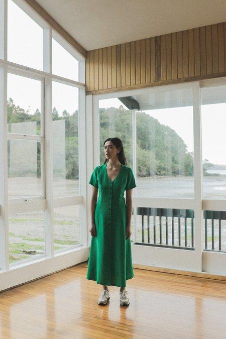OVNA OVICH Frolic Dress - Emerald Tencel Linen