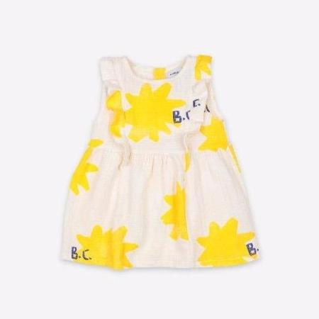 KIDS bobo choses sparkle allover ruffle baby dress - cream/yellow