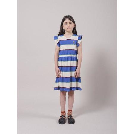 kids bobo choses stripes jersey ruffle dress - blue/white