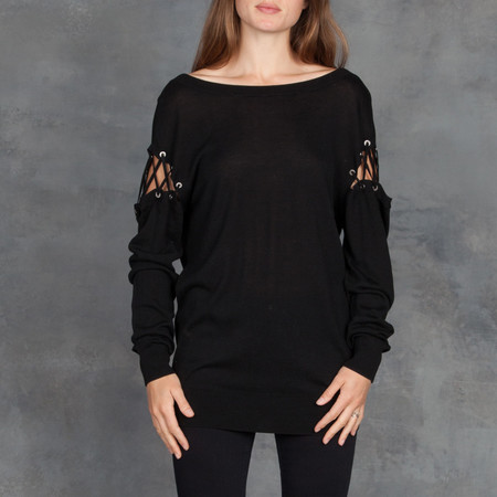 IRO Aluna Lace Up Sweater Knit in Black