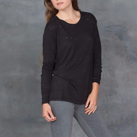 IRO Marvina Long Sleeve Tee with Distressed Holes Black