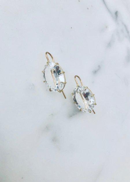 Rosanne Pugliese Large White Topaz Oval Drop Earrings - 18k gold